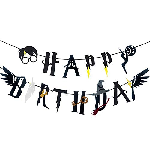 CaJaCa Harry Potter Happy Birthday Banner Party Supplies Happy Birthday Cake Topper Felt Garland Party Decoration