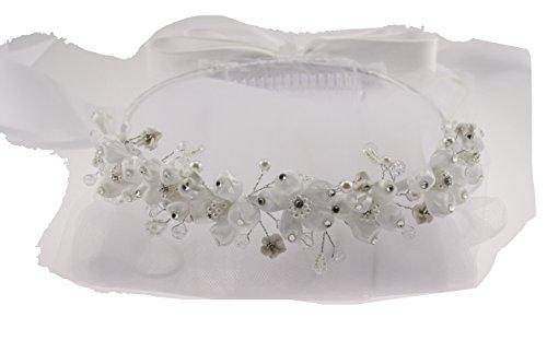 Wedding Communion Veil Tiara Halo Silk with Rhinestones At Tips Pearl Flowers