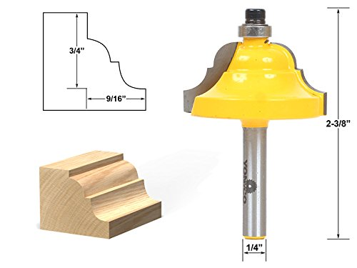 - Yonico 13124q Double Roman Ogee Edging Router Bit with Large 1/4