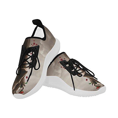 InterestPrint unicorn Dolphin Ultra Light Running Shoes for Women Dark Angel2 g4EsbqM
