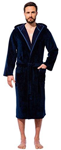 Morgenstern, Herren Bademantel mit Kapuze, marineblau ( blau, dunkelblau ) , Größen S bis XXL verfügbar, Außenseite kuschelige Microfaser Innenseite saugstarke Baumwolle ( Frottee )