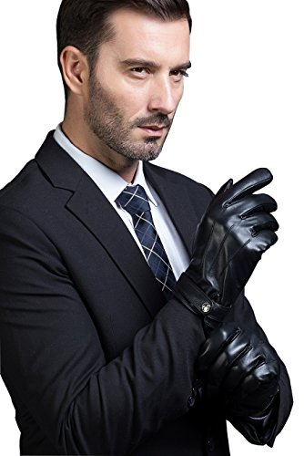 MarSue Mens Cashmere Ethiopian Lambskin Leather Winter Gloves with Cashmere Lining and Full-Hand Touchscreen