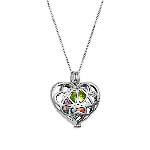 """Sterling Silver Personalized 6mm Round Simulated Birthstone Heart Caged Locket (16"""" chain)"""