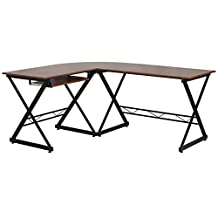 Flash Furniture Laminated L-Shape Computer Desk with Pull-Out Keyboard Tray, Teakwood