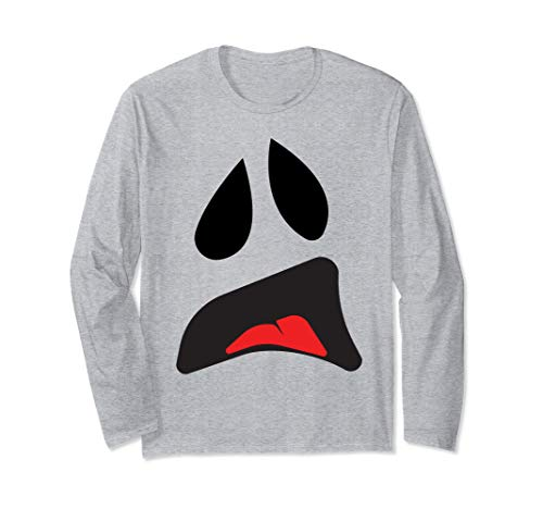Big Ghost Face - Easy Couples Halloween Costume Idea Long Sleeve T-Shirt