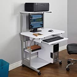 Mobile Computer Tower with Shelf,White