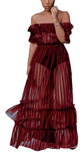 Maxi Out Pure Rouge Robe Sexy Clubwear Jaycargogo Épaule Longue Femmes CPq6gg