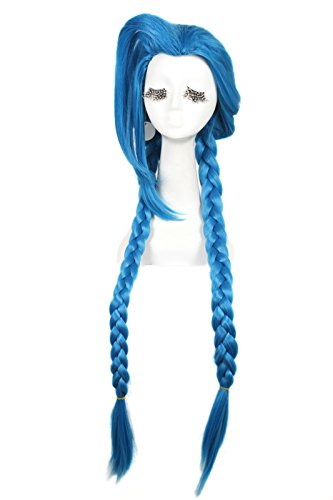 100cm-Blue-Braid-League-of-Legends-LOL-Loose-Cannon-Cosplay-Costumes-Full-Wigs-Zy66