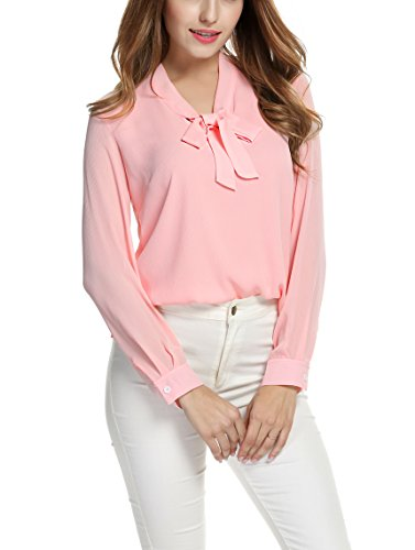 ACEVOG Tops Womens Bow Tie Neck Long Sleeve Office Work Blush Chiffon Blouse Shirts,Pink,Medium