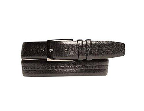 Mezlan Mens New Textured Designer Belt, BLACK, 44 (Mezlan Black Belt)