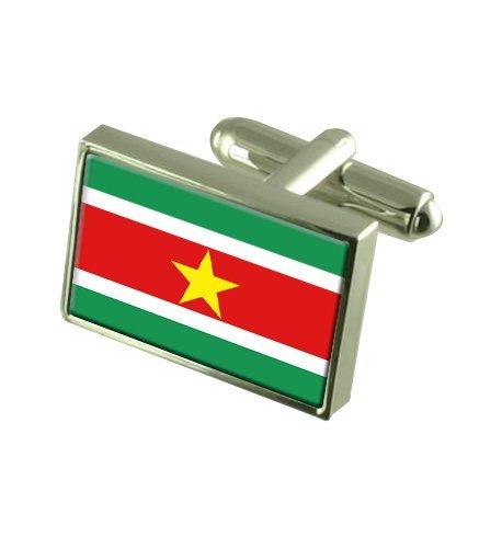 Suriname Boutons de manchette drapeau avec select pochette cadeaux