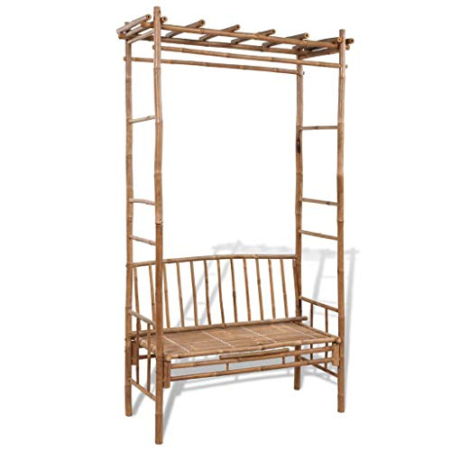 Festnight Outdoor Patio Bamboo Garden Arbor, Plant Climbing Support for Rose Vines, Lawn Backyard Bench with Pergola, Bamboo