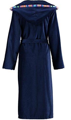 Cawö Damen Bademantel Saunamantel edle Leichtvelours Qualität mit Kapuze blau Blau rOIuibNP