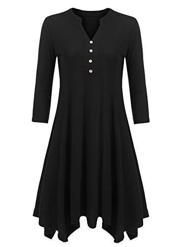 Beyove Women's Henley Tunic Asymmetrical 3/4 Sleeves Loose T Shirt Dress,Black,XX-Large
