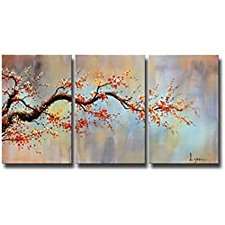 ARTLAND Modern 100% Hand Painted Flower Oil Painting on Canvas Orange Plum Blossom 3-Piece Gallery-Wrapped Framed Wall Art Ready to Hang for Living Room for Wall Decor Home Decoration 24x48inches
