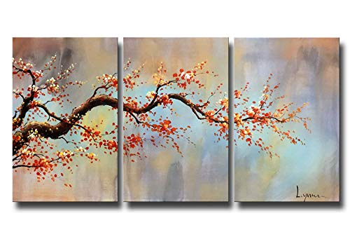 ARTLAND Modern 100% Hand Painted Flower Oil Painting on Canvas Orange Plum Blossom 3-Piece Gallery-Wrapped Framed Wall Art Ready to Hang for Living Room for Wall Decor Home Decoration ()