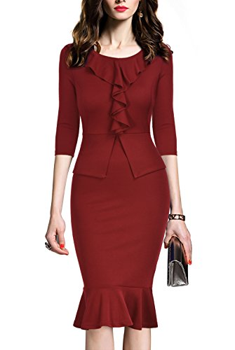 REPHYLLIS Women's Vintage Bowknot Belt Office Wear To Work Pencil Dress (Medium, Burgundy)