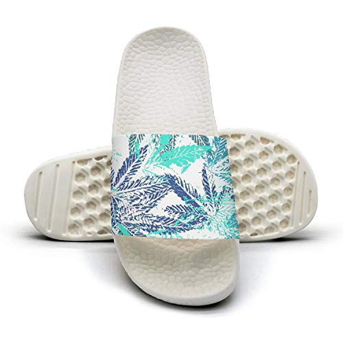 qiopw rtw Bathroom Shower Non-Slip Sandal Blue Cannabis Leaves Indoor Slipper Shoes Women's