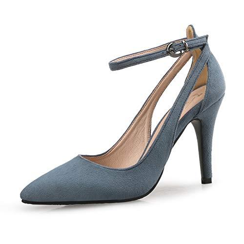 Heels Talons De Mode Pompes Pingxiannv Mariage Sangle Bout Talon Chaussures Femmes Blue Casual Hauts Cheville Mince Léopard Pointu Dames Chaussure qwWE1HC