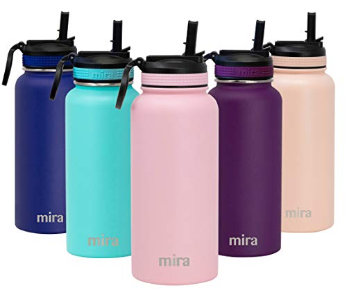 MIRA 32 oz Stainless Steel Water Bottle with Straw Lid | Vacuum Insulated Metal Thermos Flask Keeps Cold for 24 Hours, Hot for 12 Hours | BPA-Free Straw Cap | Taffy Pink