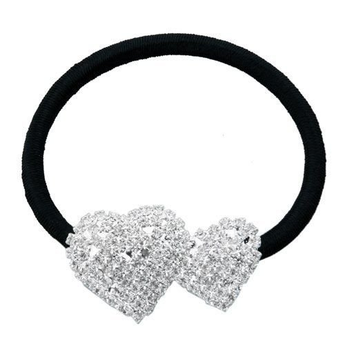 Silver Plated 2 Heart Rhinestone Elastic Band Hair Tie Ponytail Holder H1F6 ()