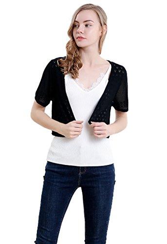 Sheer Black Sleeve Short (Vero Viva Women's Short Sleeve Bolero Shrugs Knit Lightweight Crocheted Cardigan(XL,Black))