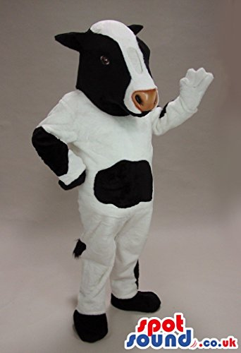 Customizable White And Black Cow Plush SPOTSOUND US Mascot Costume With Brown Nose (Plush Cow Mascot Costume)