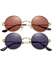 2-Pack Retro Small Round Polarized Sunglasses for Women Men John Lennon Style Circle Hippie Glasses