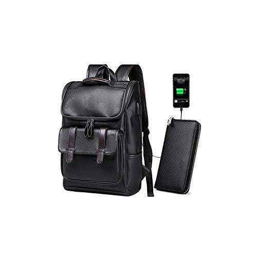 Melrose Pink Leather Case - Men Backpack External USB Charge Waterproof Pu Leather Travel School Bag Leather Bookbag,1032 Backpack Wallet