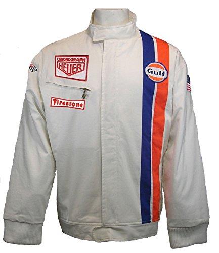 Racing Jacket Mens Vintage - Charles River Apparel Gulf Le Mans White Racing Jacket
