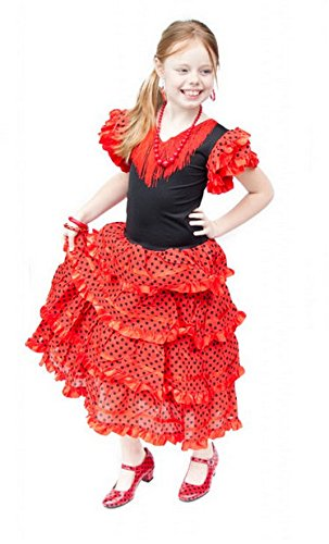 La Senorita Spanish Flamenco Dress Princess Costume - Girls / Kids - Red / Black (Size 6 - 5-6 years, red (Girls Spanish Flamenco Dancer Costume)