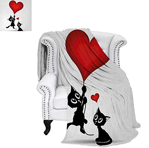 Digital Printing Blanket Baby Cat Holding Heart Shaped Baloons Romantic Love Themed Illustration Summer Quilt Comforter 50