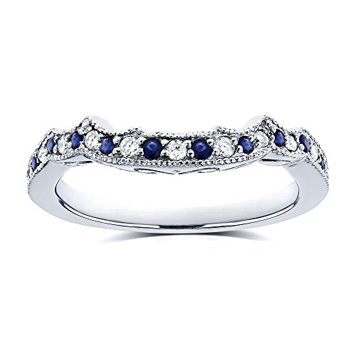 1/5ct TCW Sapphire and Diamond Contour Wedding Ring in 14k White Gold