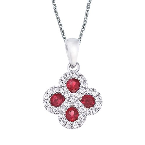 FB Jewels Solid 14k White Gold Genuine Birthstone Ruby and .13 ct Diamond Clover Pendant (0.3 Cttw.)