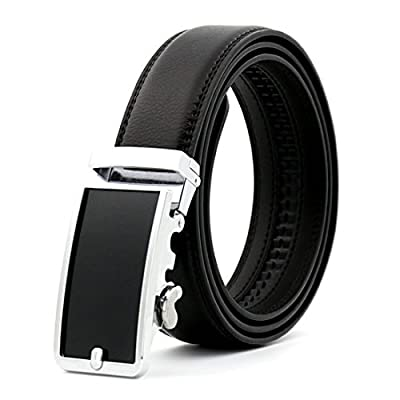 KHC Men's Belt 100% Leather Belt Ratchet Automatic Adjustable Buckle Black