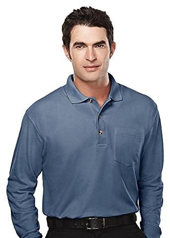 Tri-Mountain Spartan Pique Golf Shirt, L, Slate Blue