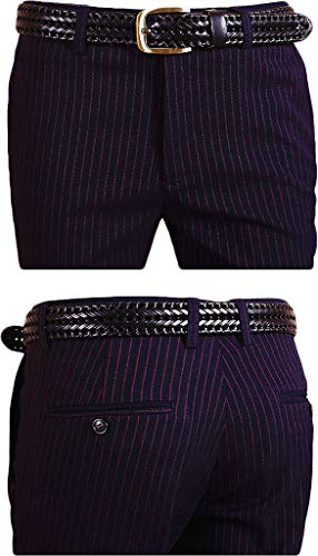 auguswu Men's Flat Front Slim Fit Wool Chambray Pinstripe Suit Separate Pant 36W¡Á34L Blue