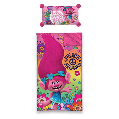 - Dreamworks TK550687T Trolls Slumber Bag with Pillow, Pink (Pack of 2)
