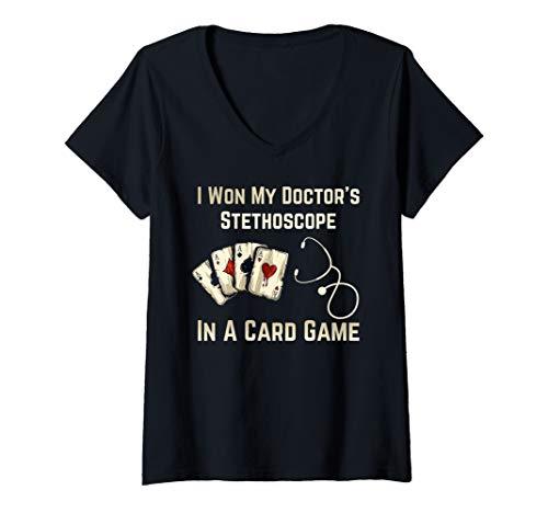 (Womens I Won My Doctor's Stethoscope Cards Game Nurse Playing Shirt V-Neck T-Shirt)