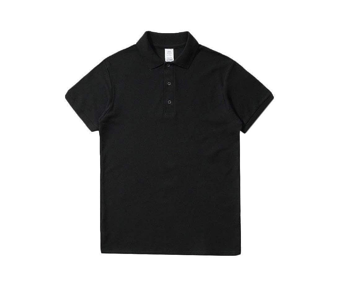 Vska Men Cotton Pure Color Short Sleeve Lapel Baggy Button T-Shirt Polo Shirt
