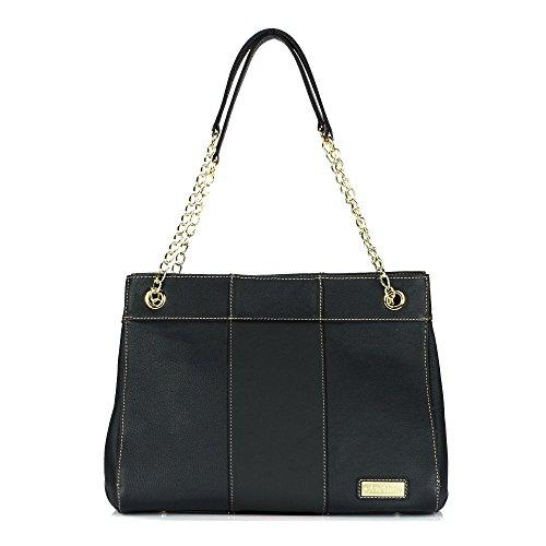 - aretha 151031-bl Genuine Leather Padlock Leather Satchel Shoulder Handbag Black
