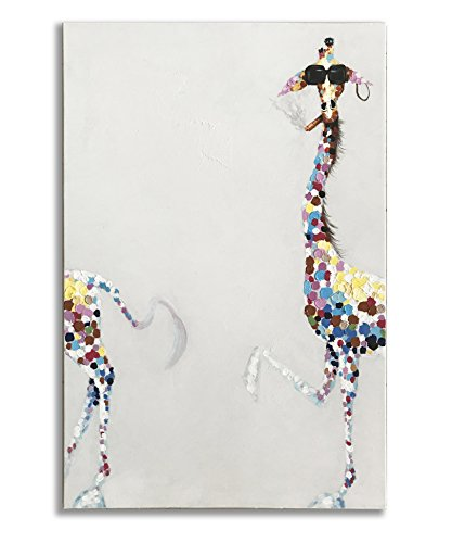 Sun Oil Painting - Giraffe Paintings, 100% Hand Painted Funny Animal Fashion Smoking Giraffe with Sunglasses Canvas Oil Painting Stretched and Framed Ready to Hang Living Room Bedroom Office Bathroom 24