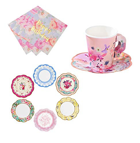 Talking Tables Vintage Tea Party Supplies for A Birthday Party | Vintage Floral Tea Cups and Saucer Sets, Paper Party Plates and Happy Birthday ()