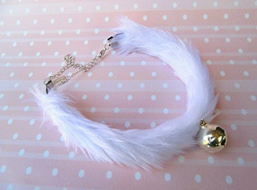 Kawaii White Kitten Bell Choker Faux Fur Kitty Collar Fluffy Furry Neko Cosplay