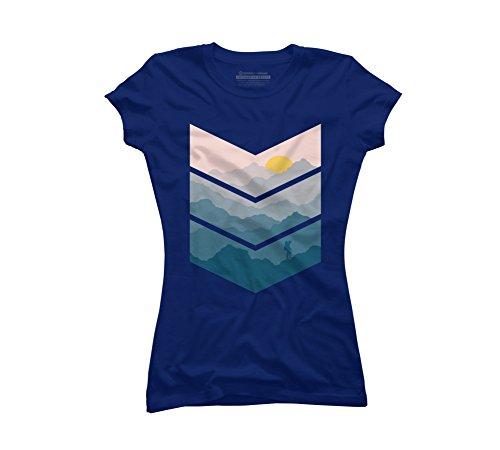 Design By Humans hiking Juniors' Medium Royal Blue Graphic T Shirt -
