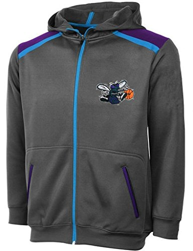 Majestic Charlotte Hornets NBA Boys Full Zip Hoodie Charcoal Youth Sizes (M)