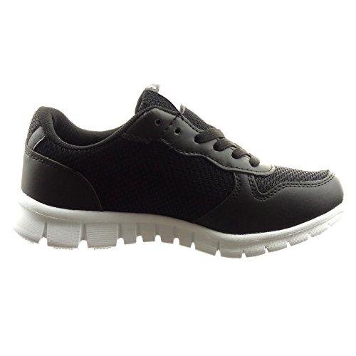 Sopily - Scarpe da Moda Sneaker bi-materiale alla caviglia donna Tacco a blocco 2.5 CM - Nero