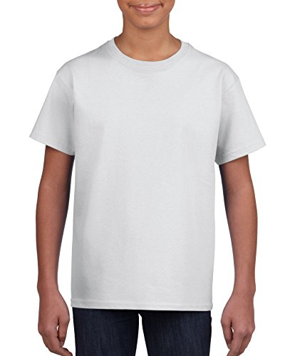 Gildan Kids' Little Ultra Cotton Youth T-Shirt, 2-Pack, White, Medium