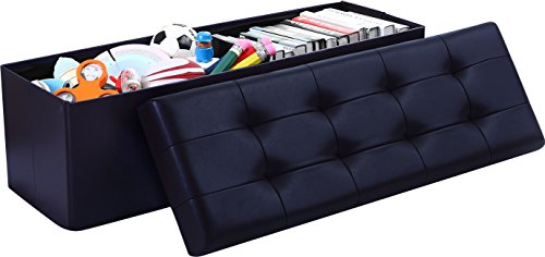 (Ellington Home Foldable Tufted Faux Leather Large Storage Ottoman Bench Foot Rest Stool/Seat - 15
