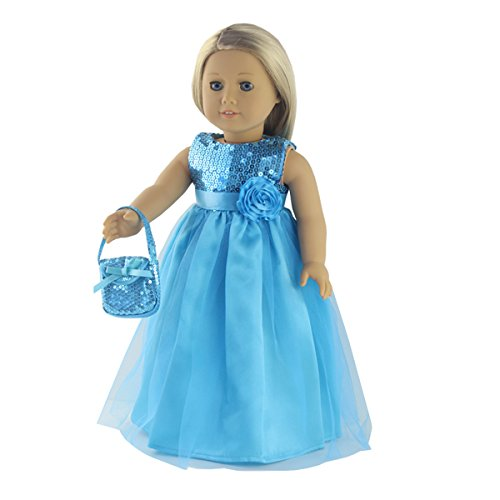 18 Inch Doll Clothes - 2 Piece Teal Long Dress,Includes Teal Dress,Teal Handbag - Fit 18 inch American Girl Dolls ()